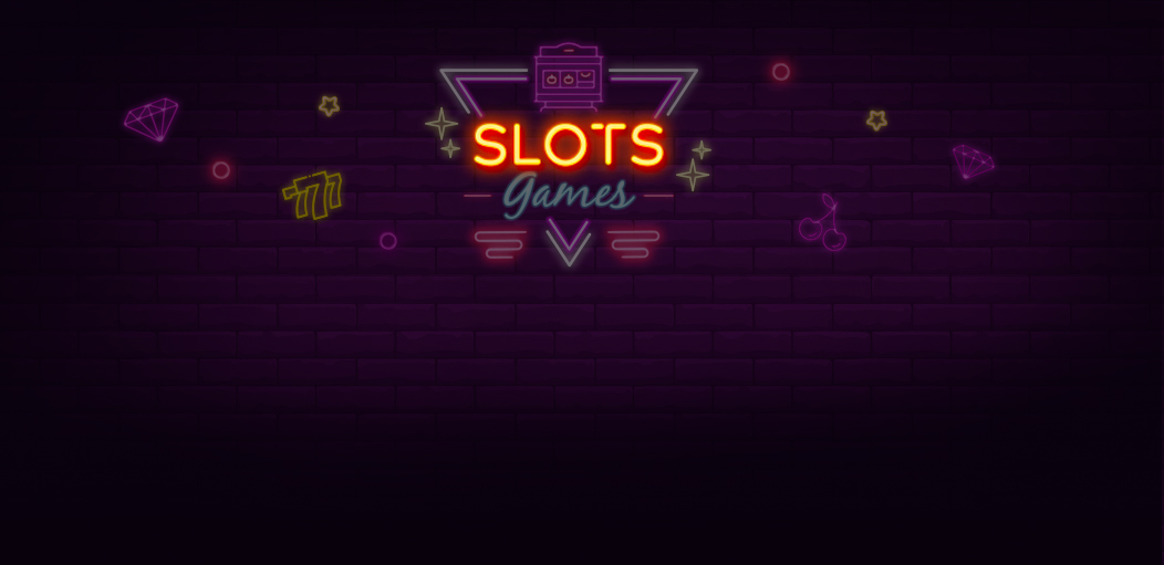Darken neon style diamond, cherry and slot machine with link to Rescuebet slot games page.
