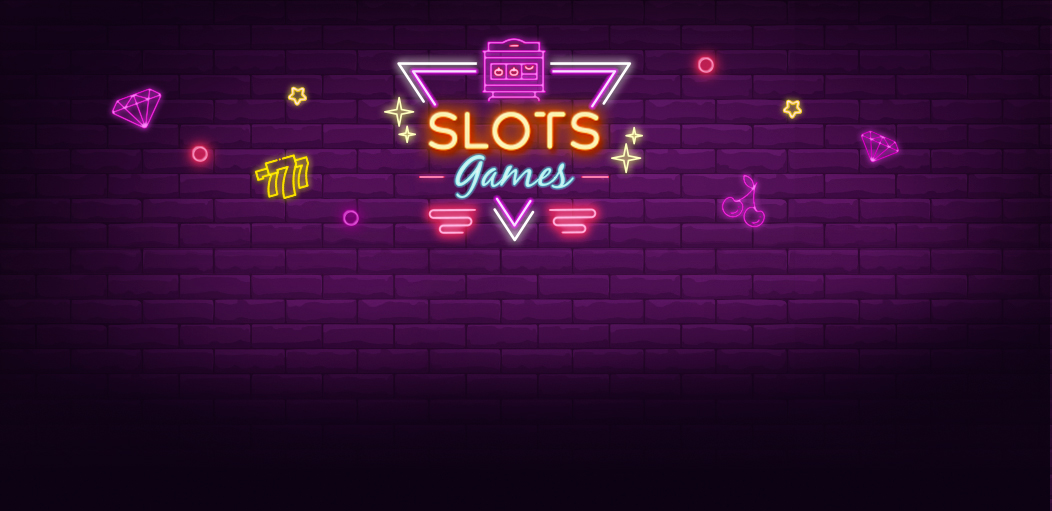 Lighten up neon style diamond, cherry and slot machine with link to Rescuebet slot games page.