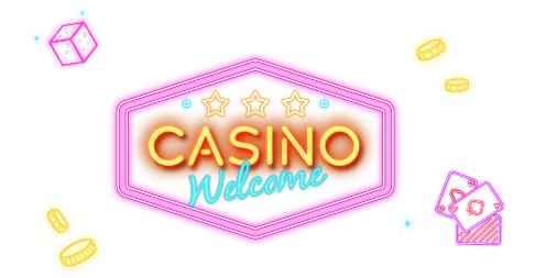 Darken neon style casino dices, chips and playing cards with link to Rescuebet live casino page.
