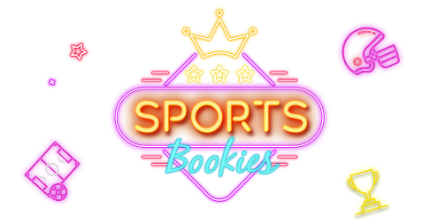 Darken neon style trophy, american football helmet and soccer field with link to Rescuebet sports bookies page.