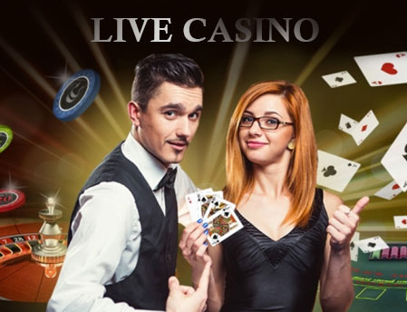 A man and lady holding poker cards with live casino experiences background