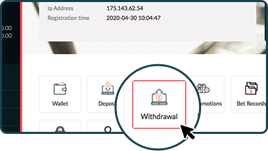 Rescuebet member dashboard interface showing the withdrawal button