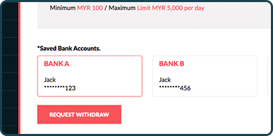 Withdrawal bank type window showing bank abc, bank xyz and add new bank account button