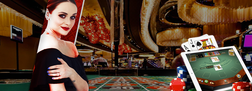 Lady in left with live casino background and ipad showing online casino table on right