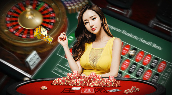 Casino roulette table background with lady dealer in front of Chinese baccarat table