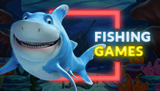 Animated shark in front of under the sea background with button to link to Rescuebet fishing game page.