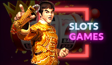 Animated Chinese fighter in front of slot games background with button to link to Rescuebet slot games page.
