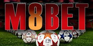 M8bet Logo With Soccers