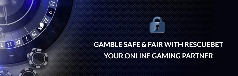 Roulette background with text Gamble Safe & Fair With Rescuebet, Your Online Gaming Partner in front