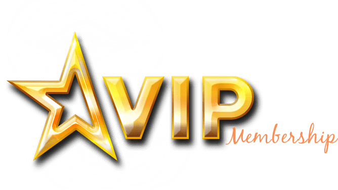 Gold color star shape, gold color text VIP and orange color text membership